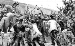 A highland riot. Gaelic speaking Scottish farmers faced some of the same land struggles as did their counterparts in the west of Ireland.