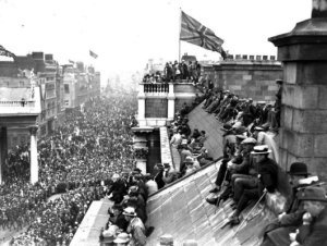 The victory parade for he Great War in Dublin in early 1919. Meetings such as this and republican rallies helped to spread the disease.