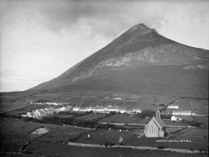 The Protestant mission at Dugort, Achill c. 1870 with St Thomas' Church in foreground.