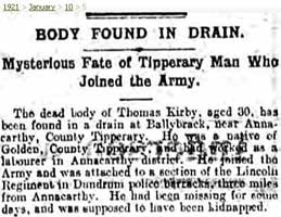 A report into Thomas Kirby who was abducted and shot by the IRA near Golden, Tipperary on 8 Jan 1921. (Courtesy of Cairo Gang website)