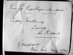 Paddy Mullaney's autograph book from his stay in Kilmainham gaol. Written incongruously in French is 'Long Live the Irish republic'.