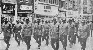 Loyalist paramilitaries march against Sunningdale, 1974.