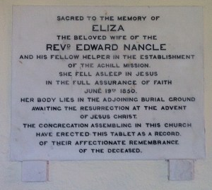 Eliza Nangle plaque at St Thomas' Church Dugort