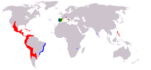 Phillip II's Empire in 1588. (Map c.o. Wikipedia).