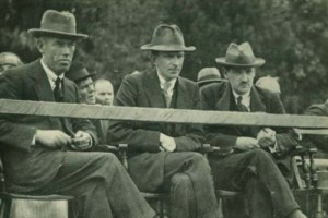 Michael Collins, Eoin O'Duffy and Eamon Donnelly in Armagh in 1921.