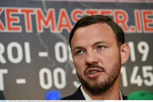 One fight at a time : 14 July 2015; WBO world champion Andy Lee speaking during a press conference ahead of 'The Showdown' with BJ Saunders at Thomond Park on September 19th. Thomond Park, Limerick. Picture credit: Diarmuid Greene / SPORTSFILE