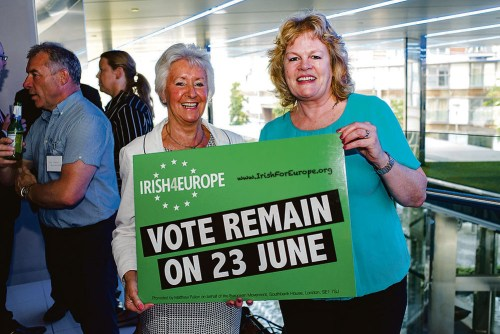 Former President of Ireland Professor Mary McAleese was the main speaker at Irish4Europe's campaign to encourage the Irish community to Vote Remain organised by IIBN and TLICN and Irish Architects in Britain.