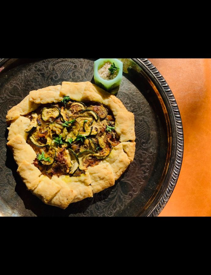 Garlicky Onion and Zucchini Galette