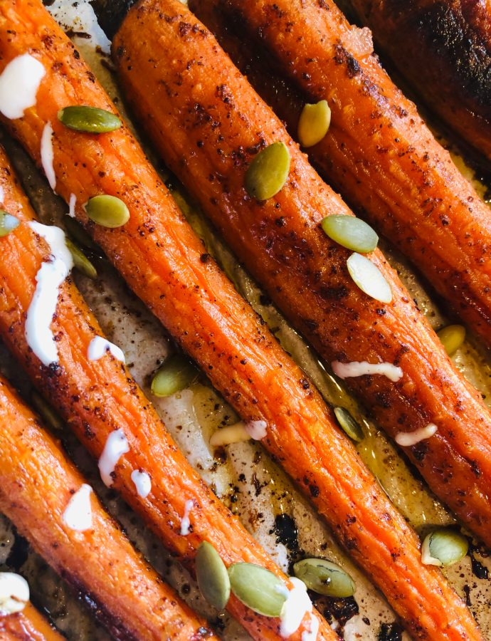 Honey Sumac Carrots with Lime Yogurt Sauce