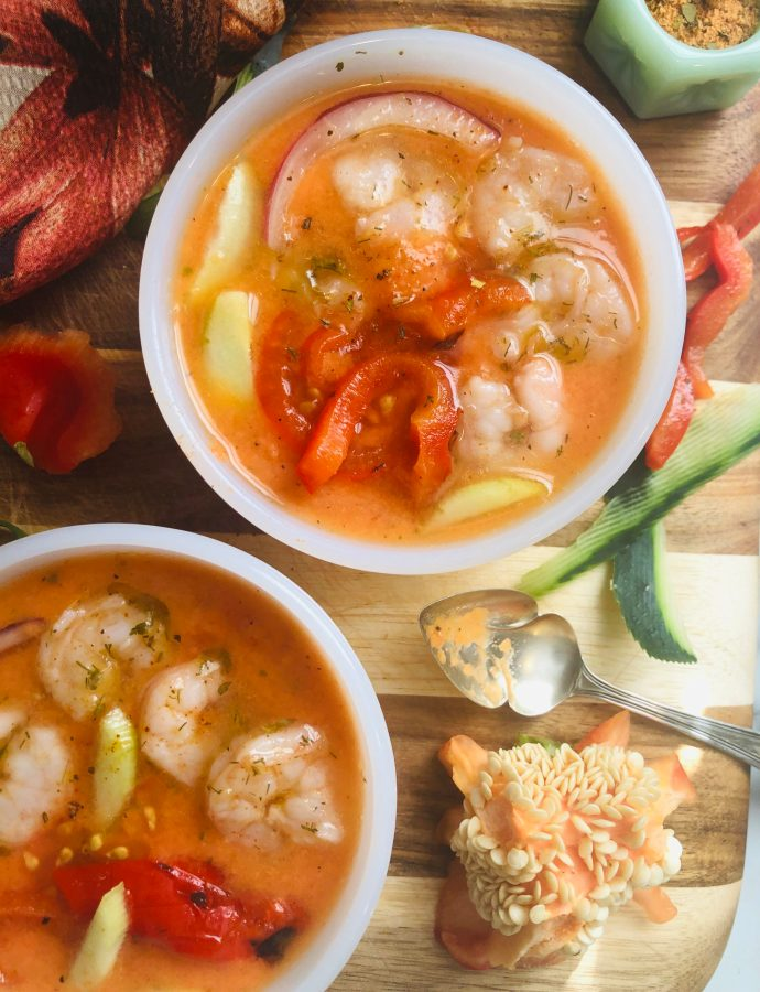 Quick Pickled Cajun Shrimp Gazpacho