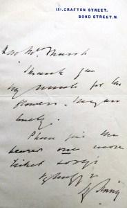 Letter from Henry Irving