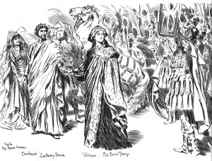 Coriolanus Act II Scene 1 Rome gives Caius marcue an ovation and he shares it with Volumnia. illustration Courtesy of The Mander & Mitchenson Theatre Coll. L to R: Miss Mabel Hackney, sir Henry Irving, Miss Ellen Terry.