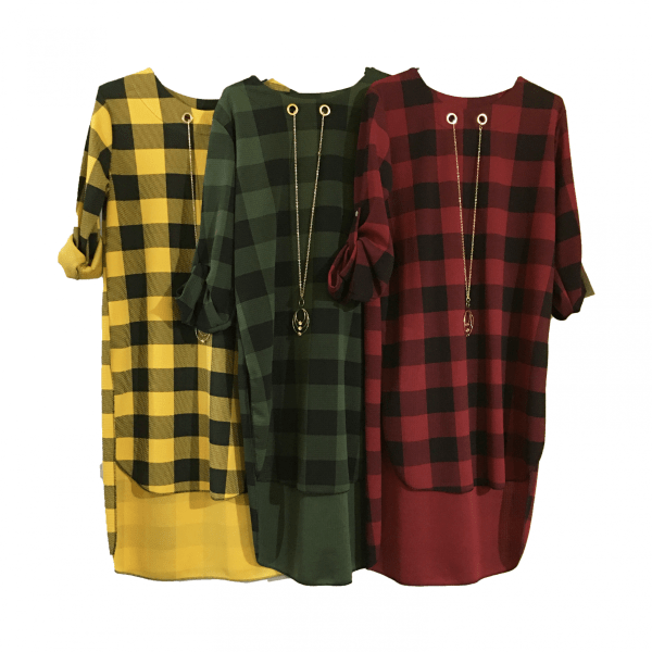 Long Chequered Shirt with Necklace for Women