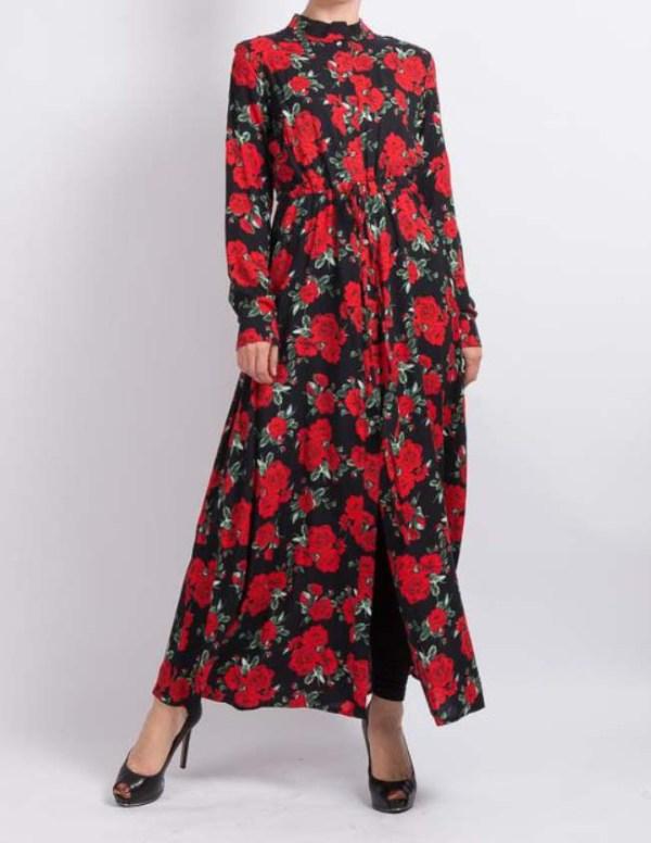 Floral Long Maxi Shirt by Q&S Islamic Store