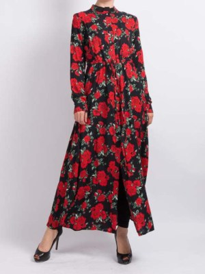 Floral Long Maxi Shirt by Q&S Islamic Store