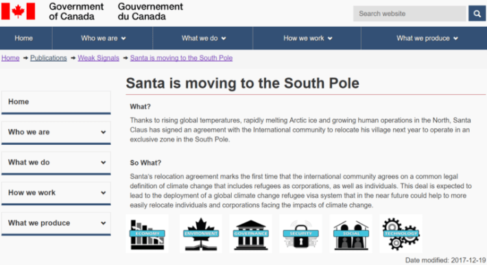 santa moving to south pole due to global warming