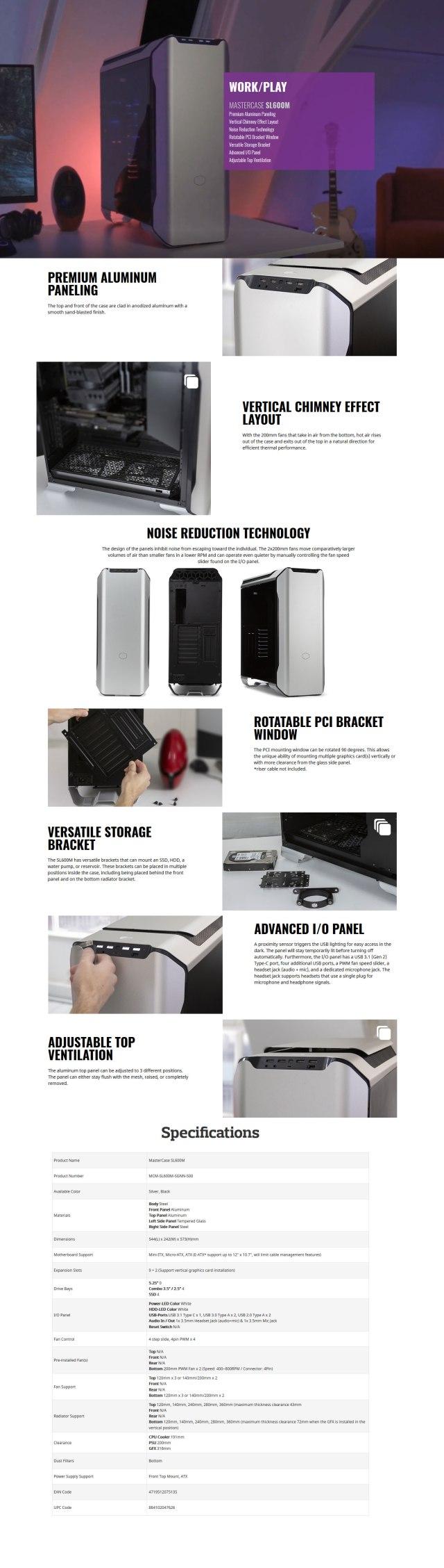 Buy Online Cooler Master MasterCase SL600M Mid Tower Case (MCM-SL600M-SGNN-S00)