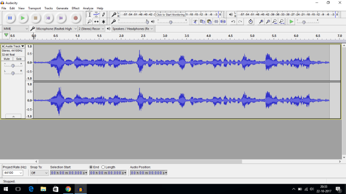 open audio in audacity