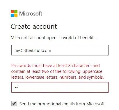 create microsoft strong password