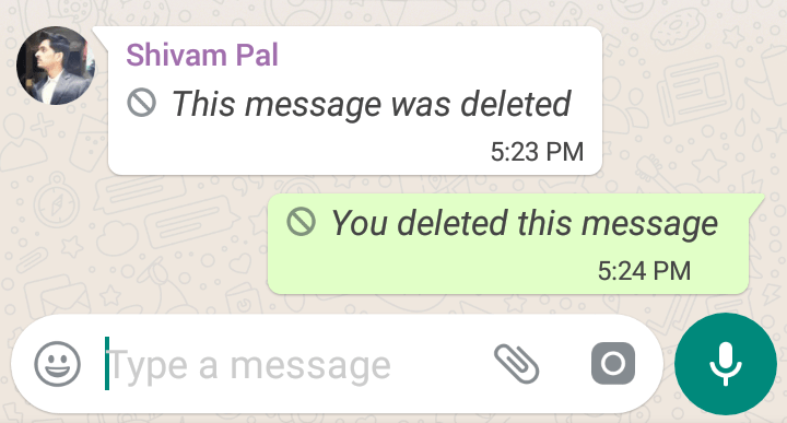 whats app deleted chat message
