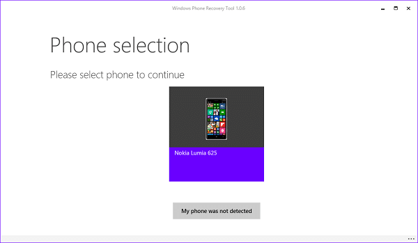Select phone Windows device recovery