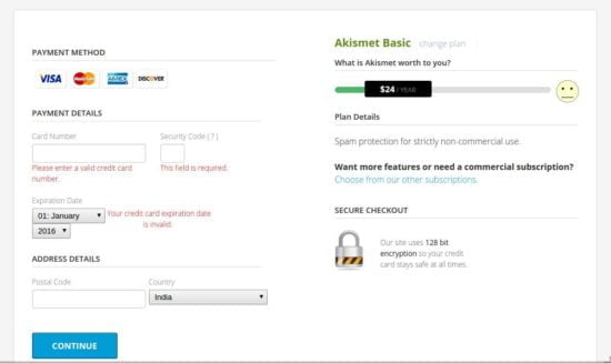 akismet payment page