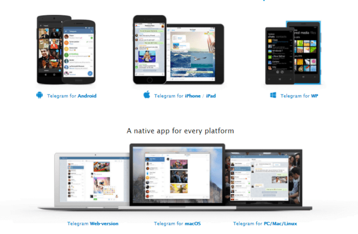 telegram for windows, linux, mac, windows phone, mac osx