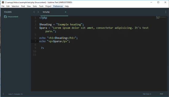 php example code