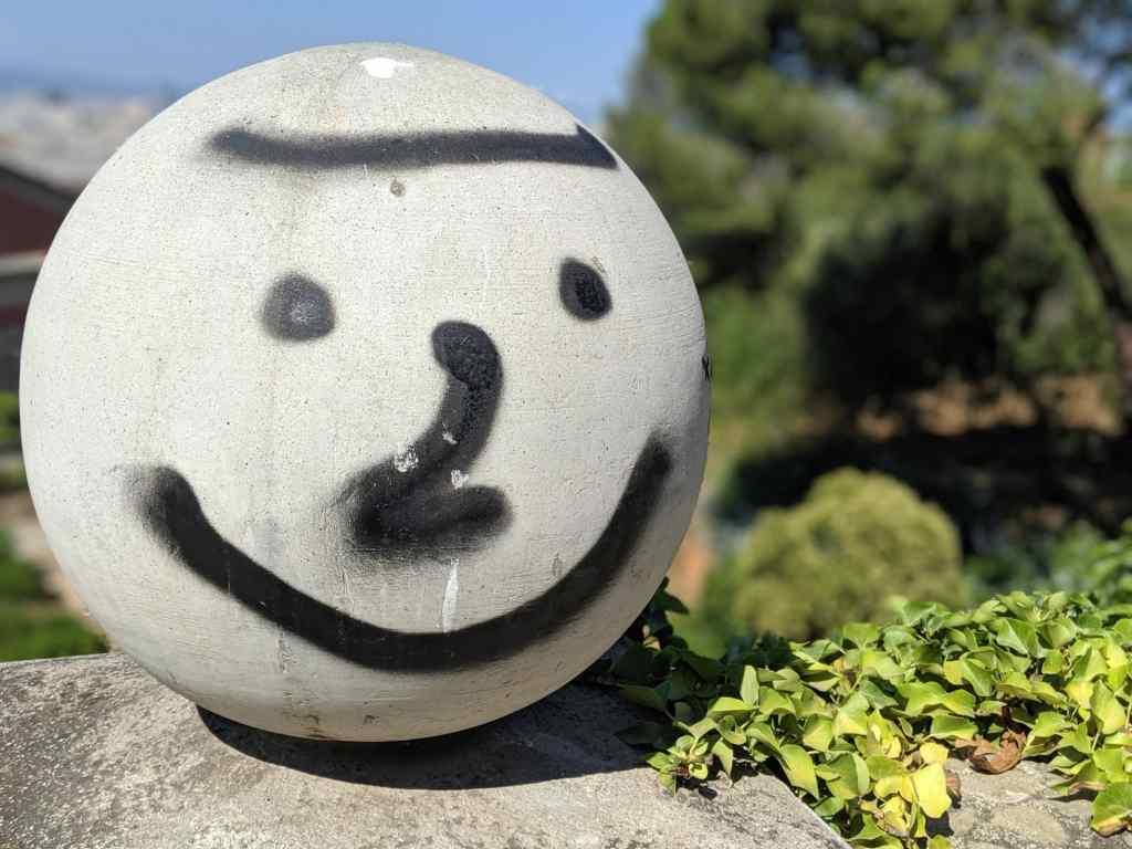 Smiley face graffiti barcelona spain
