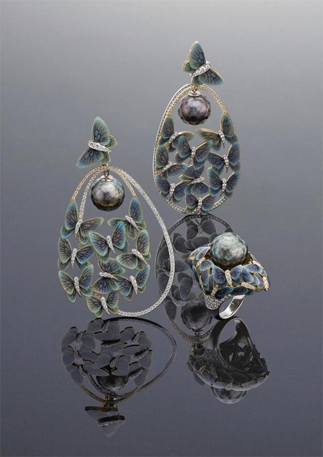 "Ilgiz F's ""Butterflies"" ring and earrings"