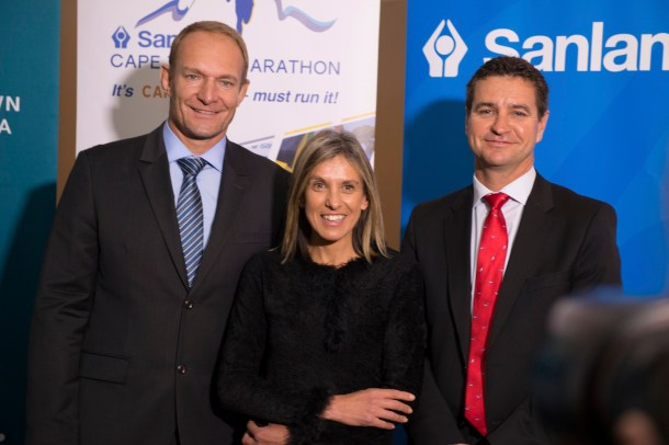 (Left to right) Francois Pienaar Elana Meyer and Carl Roothman Sanlam Investments Chief Executive Retail