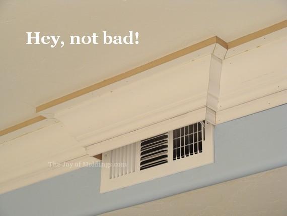 diy kitchen crown molding buildup around air vent