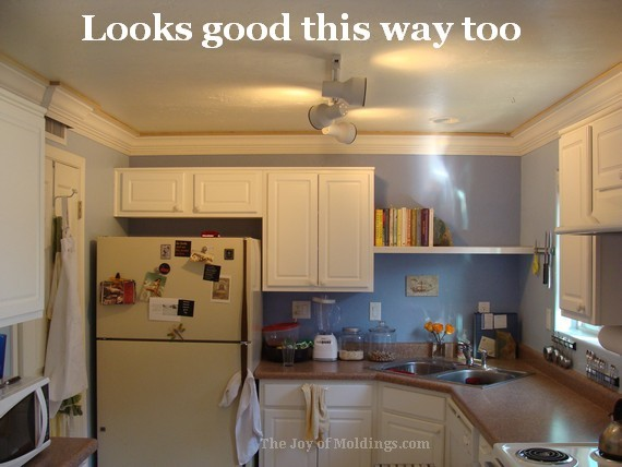 diy kitchen three-piece crown molding buildup