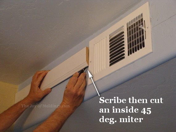 kitchen crown moulding installation on air vent