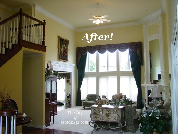 great room molding makeover remodel with crown molding, fireplace mantel and door surround
