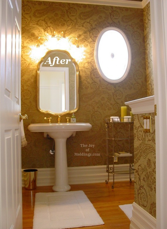 half guest bathroom after with new moldings and tall ceiling