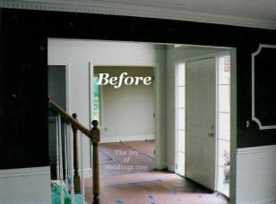 before interior archway in red dining room
