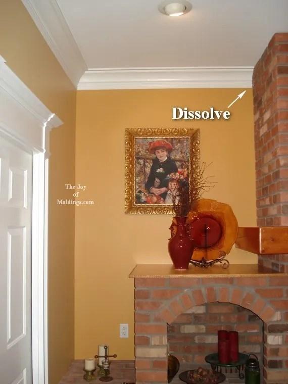 crown molding around brick fireplace