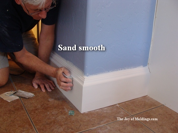 how to sand primed diy baseboard