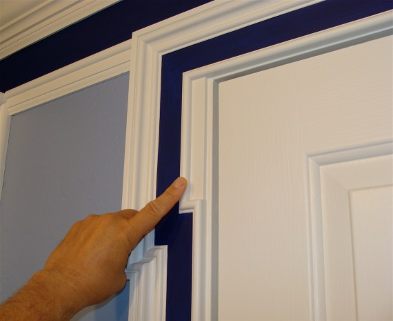 white painted molding