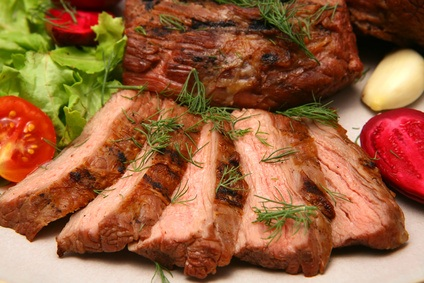 served roasted beef meat steak
