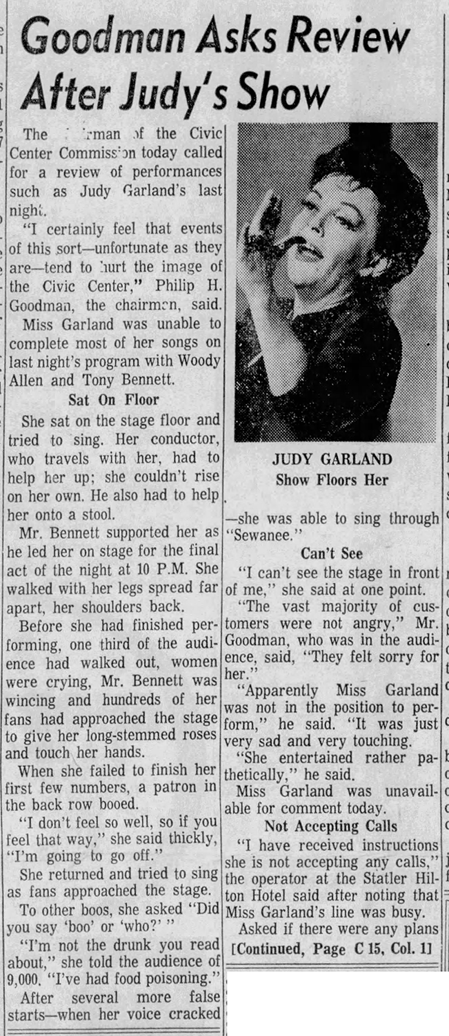 Judy Garland in Baltimore