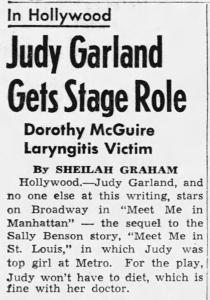 "Judy Garland in ""Meet Me In Manhattan"""
