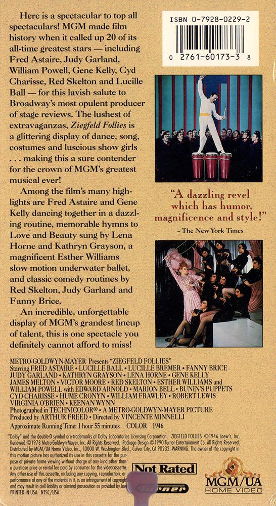 Ziegfeld Follies 1990 VHS back