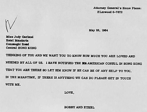 """Get Well"" Telegram from Bobby Kennedy to Judy Garland in Hong Kong"