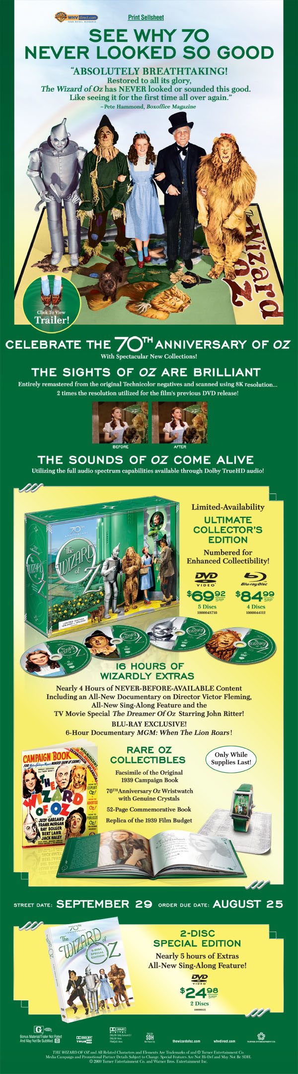 """Warner Home Video Email Flyer for the 70th Anniversary of """"The Wizard of Oz"""""""