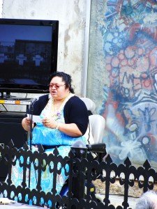 ASUH-HCC Senate President Poima Sataua told the gathering of her experiences living in Europe at the time the Berlin Wall was torn down.