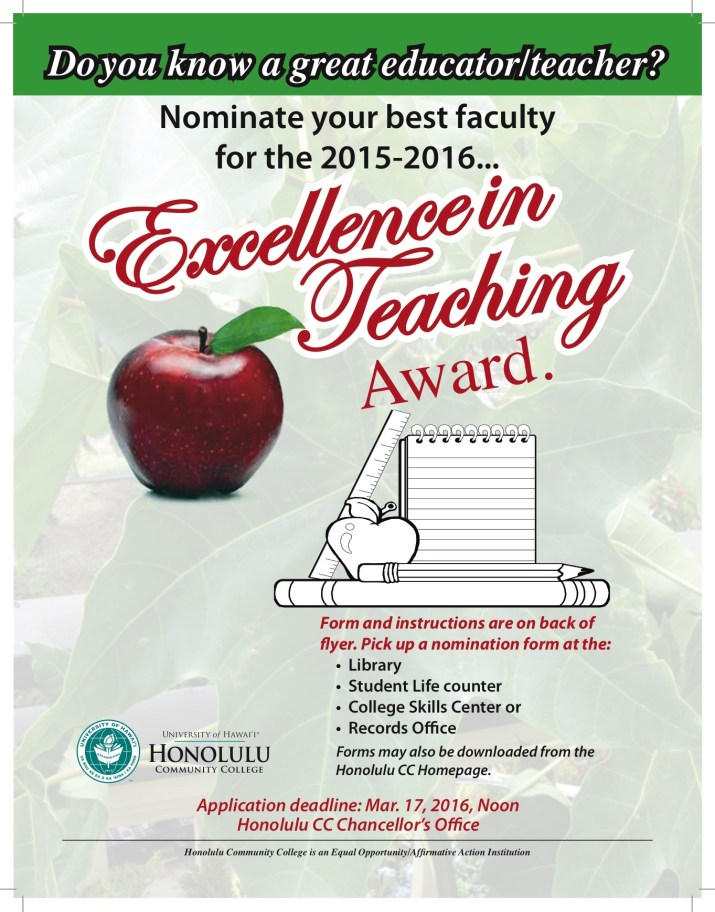 Excellence In Teaching Flyer and Form 2016
