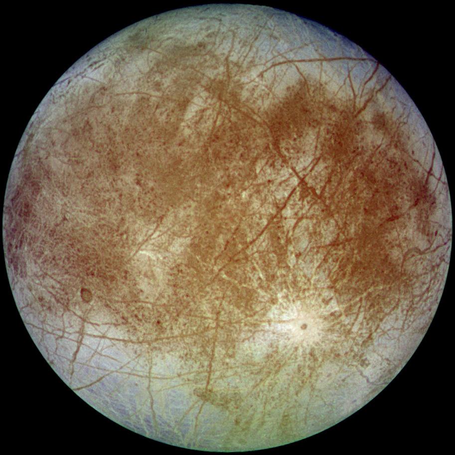 Jupitermond Europa, aufgenommen aus einer Entfernung von 677.000 km von der Raumsonde Galileo am 7. September 1996 NASA/JPL/DLR - http://photojournal.jpl.nasa.gov/catalog/PIA00502 (TIFF image link)