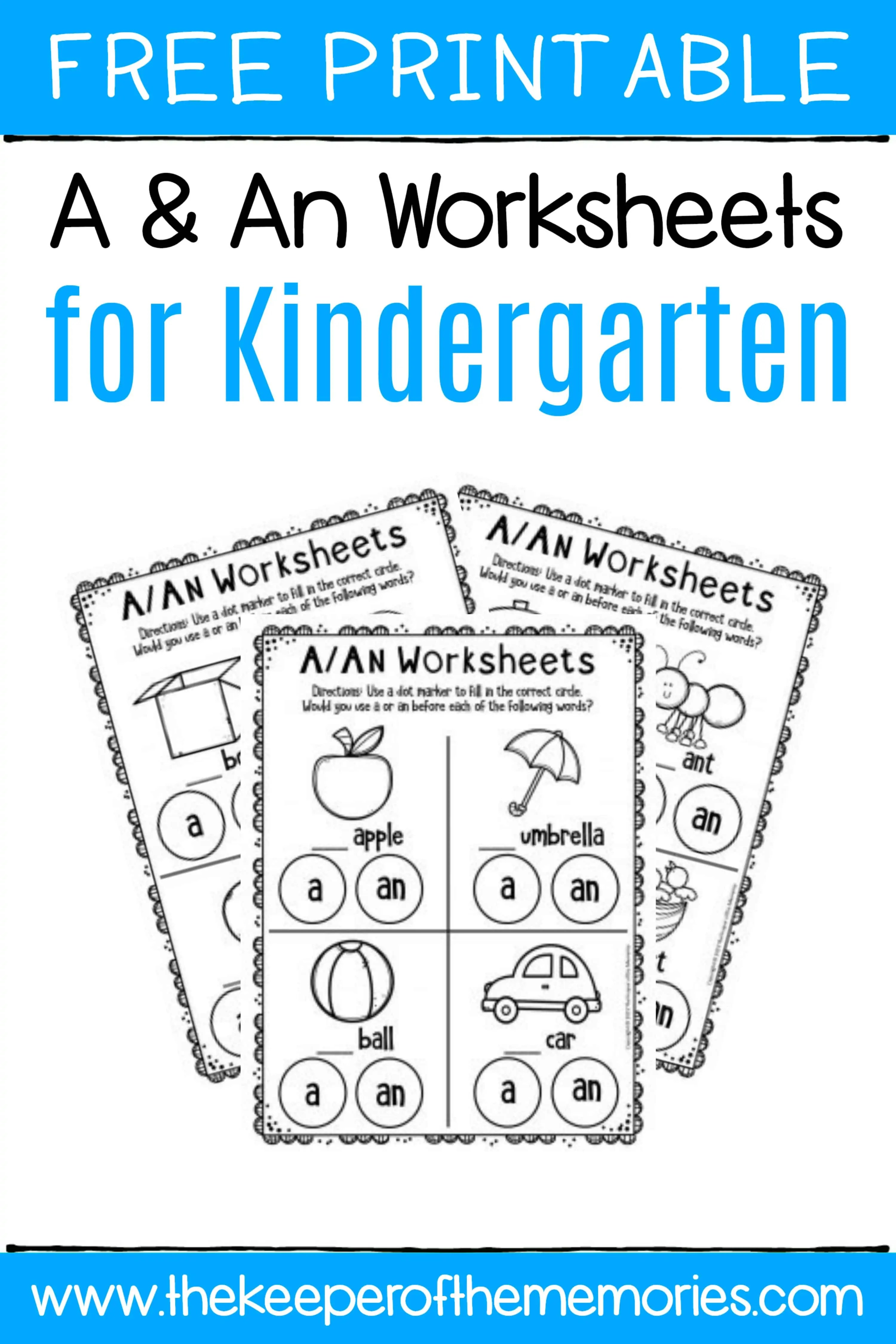 Free Printable A Amp An Worksheets For Kindergarten